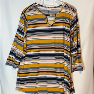 Bobby  Brooks Striped Blouse with Keyhole front